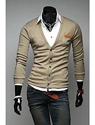 Casual manga comprida suave cor sólida Cardigan Masculina Kuxing com bolso (Khaki)