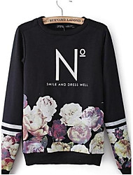 Women's Letters Printing Flower Design Jerseys Round Collar Fleece Long Sleeves