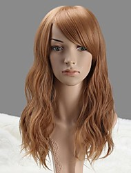 Women Capless Fashion Long Wavy Honey Blonde Synthetic Wig with Full Bang