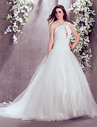 Vestido de Noiva - Marfim Fit & Flare Gola Alta Cauda Corte Chifon/Tule