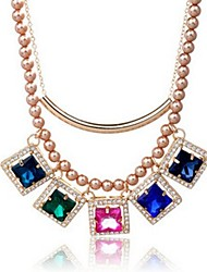 Fashion Colorful Diamond Double Pearl Statement Necklace