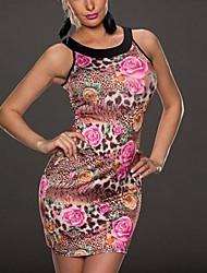 круглый воротник женщин цветной рисунок цветочный плотный рукавов мини-платье