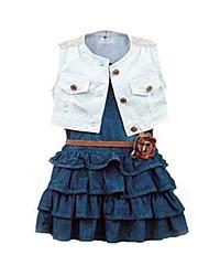 Mädchen Kleidungs Set Baumwolle / Jeans Denim Sommer Blau