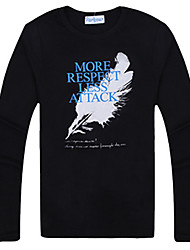 uma&m preto equipado gola redonda camisa de manga longa de impressão de algodão de moda