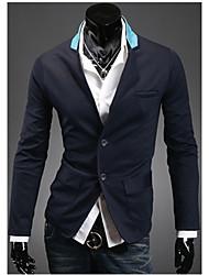 PXZ col à revers épissure Casual Tops (bleu marine, gris, noir)
