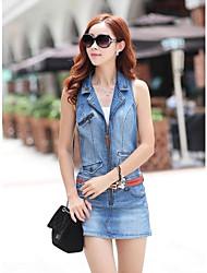moda sem mangas vestido zipper denim das mulheres