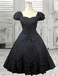 Short Sleeve Knee-length Black Cotton Classic Lolita Dress with Bow