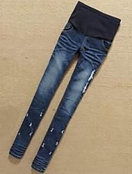 slim denim capris pantalon de jeans de maternité (trous cassés conception aléatoire)