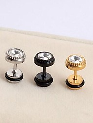 Vintage Diamond (Round)  Titanium Steel Stud Earrings(Gold,Silver,Black) (1 Pc)