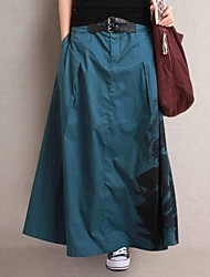 Women's Tencel Cotton Casual Fashion  Long Skirt