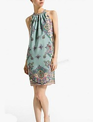 Women's Beach Shift Dress,Print Crew Neck Knee-length Sleeveless Multi-color Summer