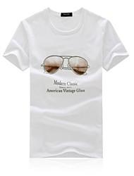 Herren T-shirt-Druck Freizeit Baumwolle Kurz-Rot / Weiß
