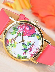 Timi Women's Flower Pattern PU Watch -W1225