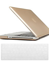 Luxury Gold Color Design PC Hard Case with Keyboard Cover Skin for MacBook Retina