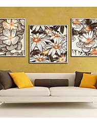Flowers Blossoming Art Paintings Framed Canvas Print Set of 3