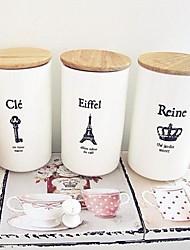 French Effiel Tower Straight Cup Ceramic Coffee Mug with Wood Cover Random Pattern,8.5x7x12.5cm