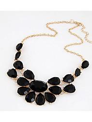 MIKI Statement Big Gemstone Diamante Necklace