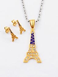 Moda titanio acciaio placcato oro Torre Eiffel Diamonte collane e orecchini Gioielli Set
