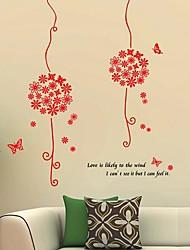 ® rouge d'amour de fleur de papillon de pièce de crèche Wall Sticker Art Stickers muraux enfants Createforlife
