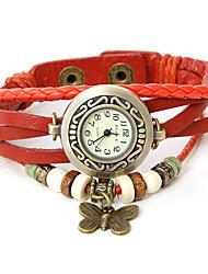 Dare U Genuine Leather  Butterfly Pendant Bracelet Wristwatches