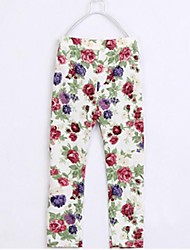 Girl's Blue / Brown / Pink / Beige Leggings,Floral Cotton All Seasons