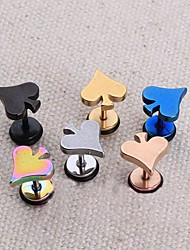 Lureme®316L Surgical Titanium Steel Personality Single Stud Earrings (Random Color)