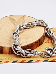 Fashion Men's Silver Multi-layer Twist Chain Stainless Steel Bracelets