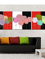 Stretched Canvas Art Colored Flowers Set of 3