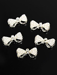10pcs White Pearl Style Beads Bow Tie 3D Alloy Nail Art Decoration