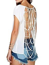 Damen Solide Sexy Lässig/Alltäglich T-shirt,Rundhalsausschnitt Sommer Kurzarm Weiß Lichtdurchlässig