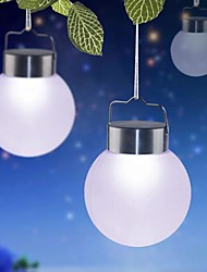 1-LED White Outdoor Solar Hanging Plastic Ball Lights For Decor