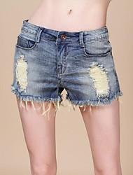 Donna Pantaloncini Vintage Hole Denim Denim Jeans