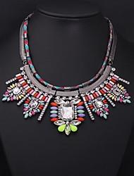 cor gemstone colar de cristal das mulheres