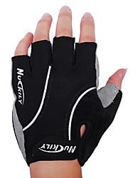 nuckily luvas de ciclismo unissex sem dedos respirável lycra antiderrapante metade dedo mountain bike preto
