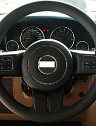 XuJi ™ Black Genuine Leather Steering Wheel Cover for 2012 Jeep Compass Grand Cherokee Wrangler Patriot