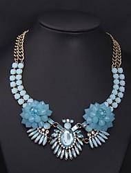 resina de lujo collar de piedras preciosas de la flor de las mujeres