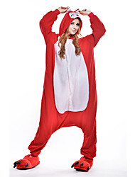 kigurumi Pyjamas New Cosplay® Renard Collant/Combinaison Fête / Célébration Pyjamas Animale Halloween Rouge Mosaïque Polaire Kigurumi Pour