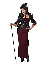 Lady Of The Manor Wine Red & Black Terylene Women's Halloween Costume
