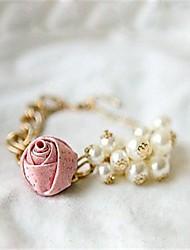 Lydia Women'S Elegant Rose Design Pearl Tassels Bracelet(Screen Color)