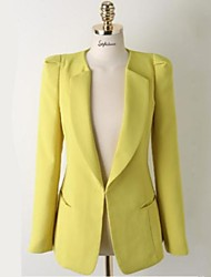 Women's Plus Size All Seasons Blazer,Solid Long Sleeve Blue / White / Black / Yellow Polyester Medium