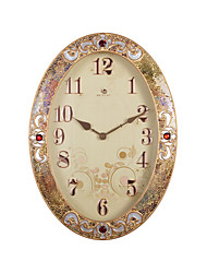 "26.4 ""H élégant bord d'or Red Ruby Polyrésine Horloge murale"