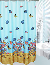 Cartoon Style Undersea World Curtain Shower