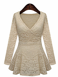 Zimei Woman's High Quality Female Fashion Long Sleeve V Neck Elegant Lace Shirt