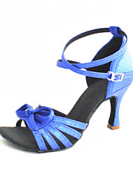 Customizable Women's Dance Shoes Latin Satin Customized Heel Black/Blue/Red/Silver/Gold