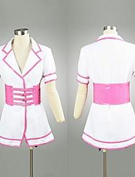 Inspiré par Super Sonico Sonico Anime Costumes de cosplay Costumes Cosplay Mosaïque Blanc / Rose Manche Courtes Robe / Chapeau / Ceinture