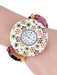 Damen Armband-Uhr Quartz Holz Band Streifen Blume Mehrfarbig Marke