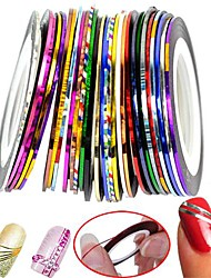 30pcs gemengde kleuren rolt striping tape lijn nail art decoratie sticker