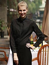 ресторанах униформа длинный рукав официант блузки с застежкой