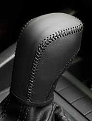 XuJi ™ Black Genuine Leather Gear Shift Knob Cover for Volkswagen VW Golf 6 Passat Tiguan Polo Automatic