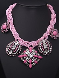 Women's Large Pink Crystal Beads Gemstone Necklace
